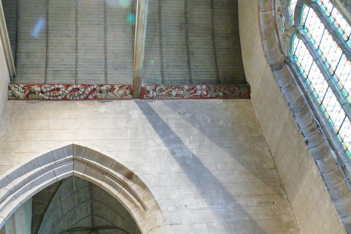Sablières des bras du transept de l'église Saint-Émilion de Loguivy-Plougras. Photographie lavieb-aile 16 septembre 2017.