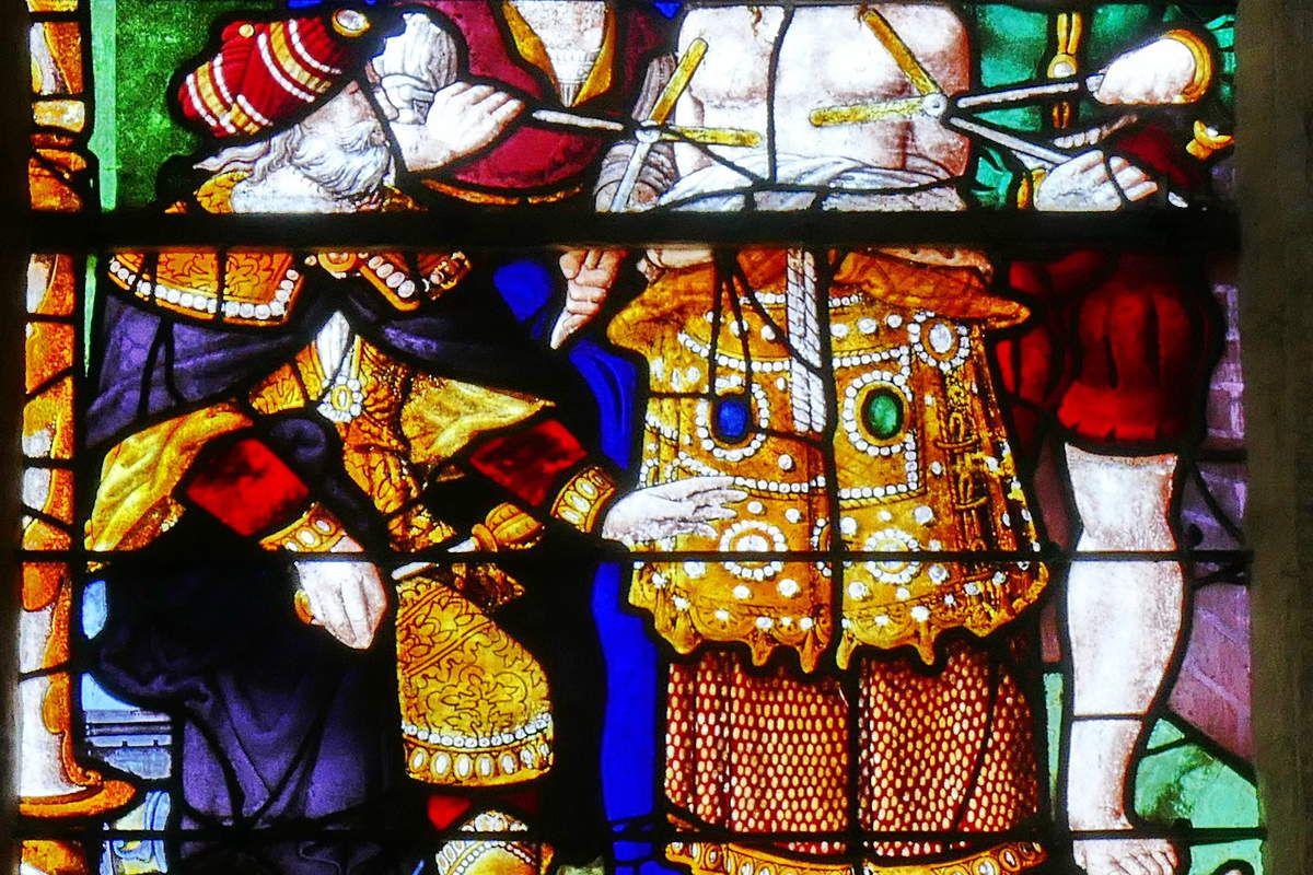 Baie n°5 (1538), Vie de sainte Barbe, église de Moncontour. Photographie lavieb-aile septembre 2017.