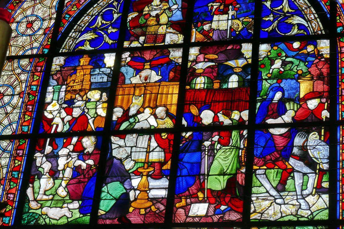 Verrière de l'Enfance du Christ (vers 1538), Baie 0, église de Moncontour. Photographie lavieb-aile 16 septembre 2017.