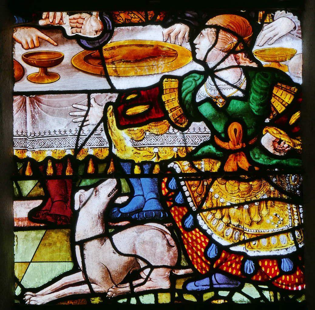 Verrière de la Vie de saint Jean-Baptiste (vers 1535-1540), baie 3, mur nord de l'église de Moncontour. Photographie lavieb-aile 17 septembre 2017.
