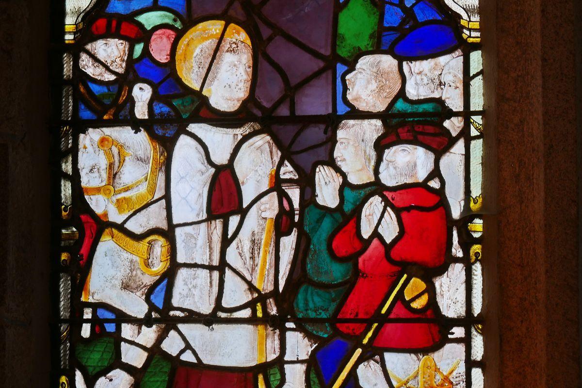 Verrière de la Vie de saint Mathurin (vers 1520), église de Moncontour. Photographie lavieb-aile 17 septembre 2017.