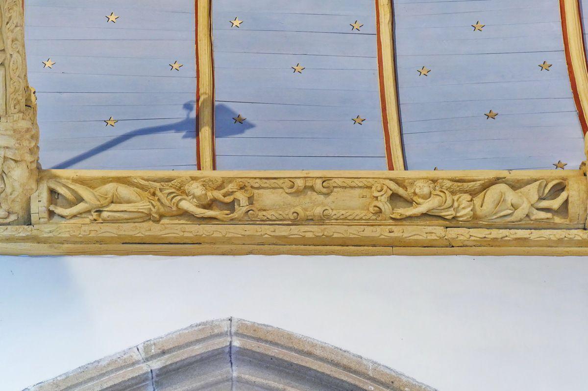 Sablière N3 du coté nord  de la nef de l'église de Bodilis. Photographie lavieb-aile juillet 2017.