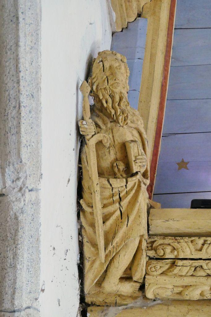 Blochet B5, charpente sculptée du bas-coté sud de l'église de Bodilis. Photographie lavieb-aile août 2017.