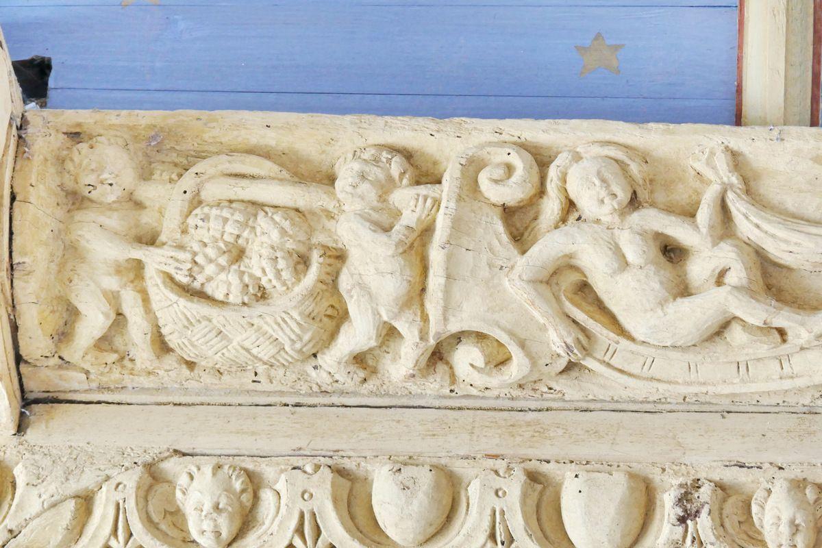 Sablière Sb3, charpente sculptée du bas-coté sud de l'église de Bodilis. Photographie lavieb-aile avril 2018.