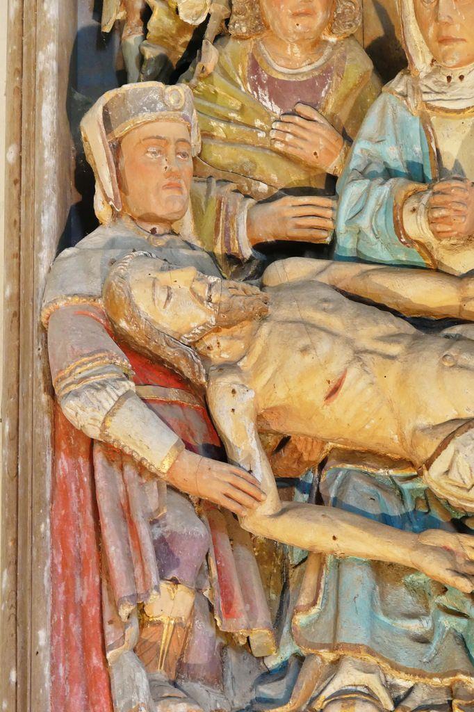 Les sculptures de l'église de Bodilis : le retable de la Déploration.