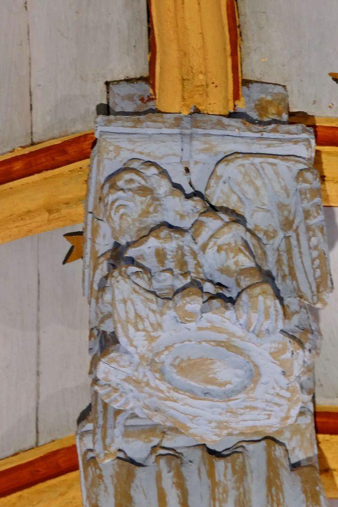 Ange, poinçon de la charpente de l'église de Bodilis. Photographie lavieb-aile avril 2018.