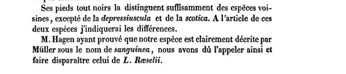 Revue des odonates: ou, libellules d'Europe Par Michel-Edmond baron de Sélys-Longchamps, Hermann August Hagen, 1850 page 33. Num. Google