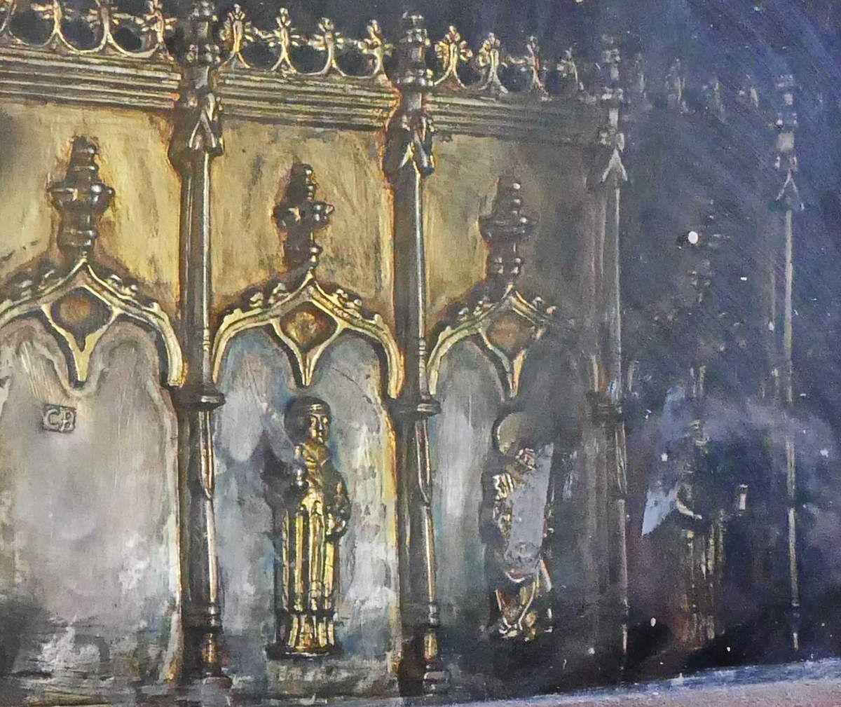 Le reliquaire de 1578 provenantde lachapelle Saint-Côme-et Saint-Damien, à Saint-Nic. photographie lavieb-aile 23 juin 2018.