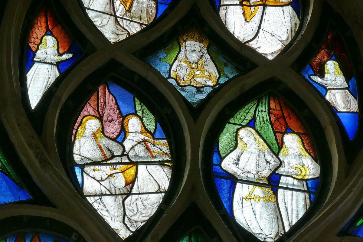 Baie 7 de l'Arbre de Jessé, vers 1500-1510, atelier rouennais. Église de Bourg-Achard. Photographie lavieb-aile 25 août 2018.