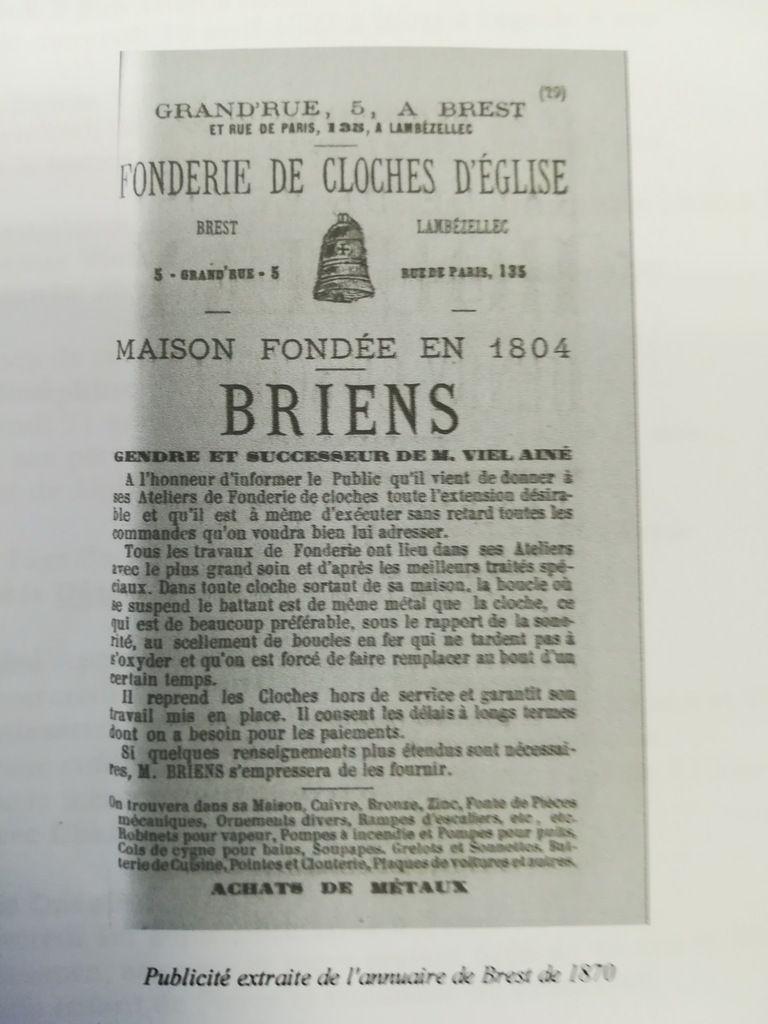 Les cloches du Faou et les fondeurs de cloche du Finistère. II : Viel à Brest 1823.