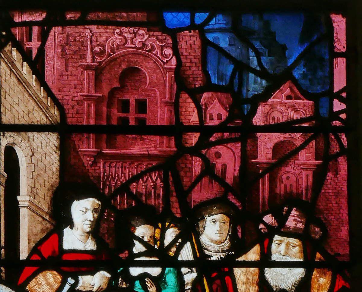 Vie de saints Crépin et Crépinien (1530, Nicolas Le Prince), Baie 23, collégiale de Gisors. Photographie lavieb-aile 26 août 2018.