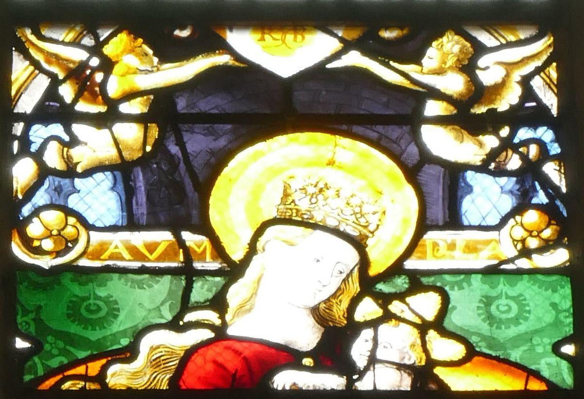 Verrière de saint Pierre, de sainte Clotilde et de la Vierge, baie 21 (Romain Buron, vers 1530-1540) de la collégiale  de Gisors. Photographie lavieb-aile 26 août 2018.