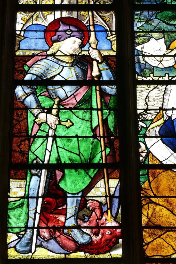La verrière de l'Apparition du Christ à Madeleine de l'église Notre-Dame de Louviers.