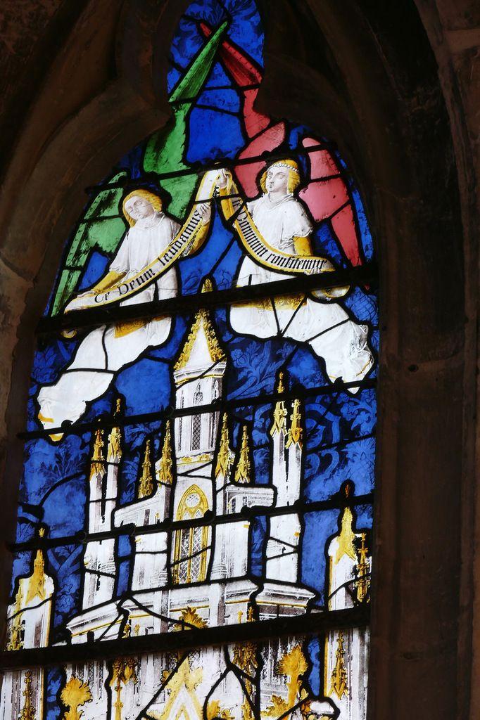 Verrière de saint Claude (vers 1495), baie 19 de l'église de Louviers. Photographie lavieb-aile 26 août 2018.