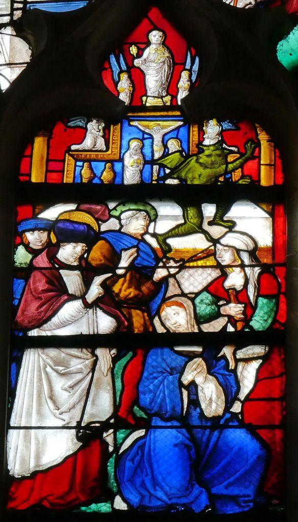 Verrière de la vie de saint Ouen donnée par la confrérie du Saint Sacrement vers 1515, baie 18 de l'église de Pont-Audemer. Photographie lavieb-aile août 2018.