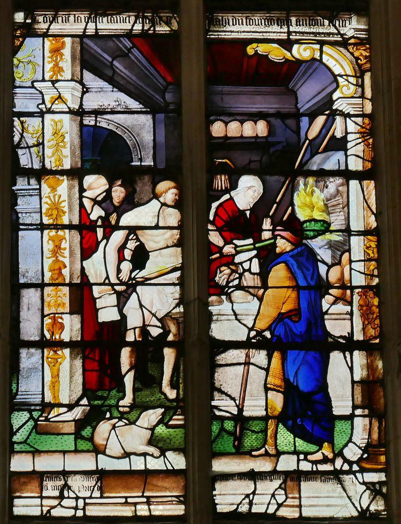 Verrière de saint Honoré (baie 13, 1536), église Saint-Ouen de Pont-Audemer. Photographie lavieb-aile août 2018.
