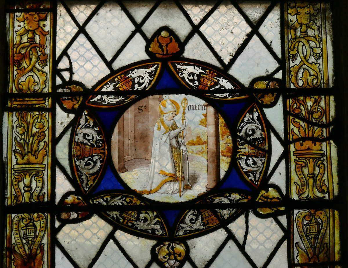 Verrière de l'Apparition du Christ aux Apôtres, (vers 1530 et XVIIe), église de Pont-Audemer. Photographie lavieb-aile août 2018.