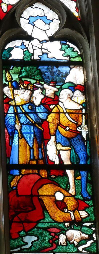 Verrière des saints Pierre et Paul (vers 1515-1520), baie 17, église de Pont-Audemer. Photographie lavieb-aile août 2018.