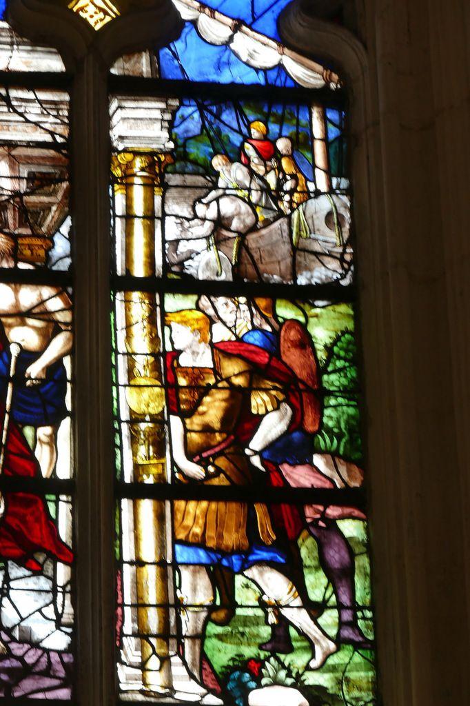 Verrière de saint Vincent (vers 1540 et 1556 ; 1952) ou baie 11 de l'église de Pont-Audemer. Photographie lavieb-aile 26 août 2018
