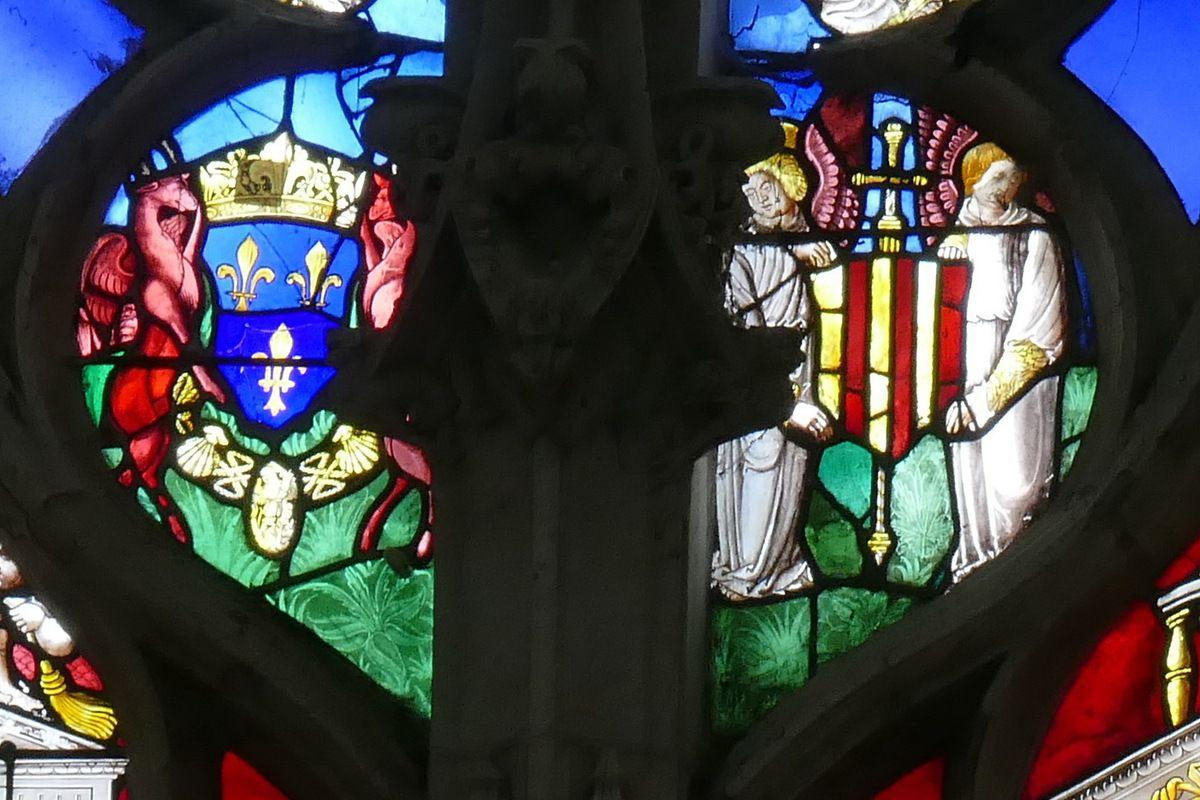 Verrière du Couple royal offert par Georges d'Amboise, ancienne collégiale Notre-Dame du Grand-Andely, Les Andelys. Photographie lavieb-aile 25 août 2018.