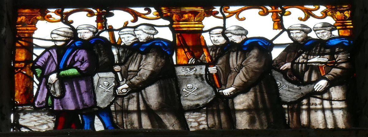Verrière de la Création et de la Procession des charitons, 150-1560 en baie 120 de l'ancienne collégiale du Grand-Andelys. Photographie lavieb-aile 27 août 2018.