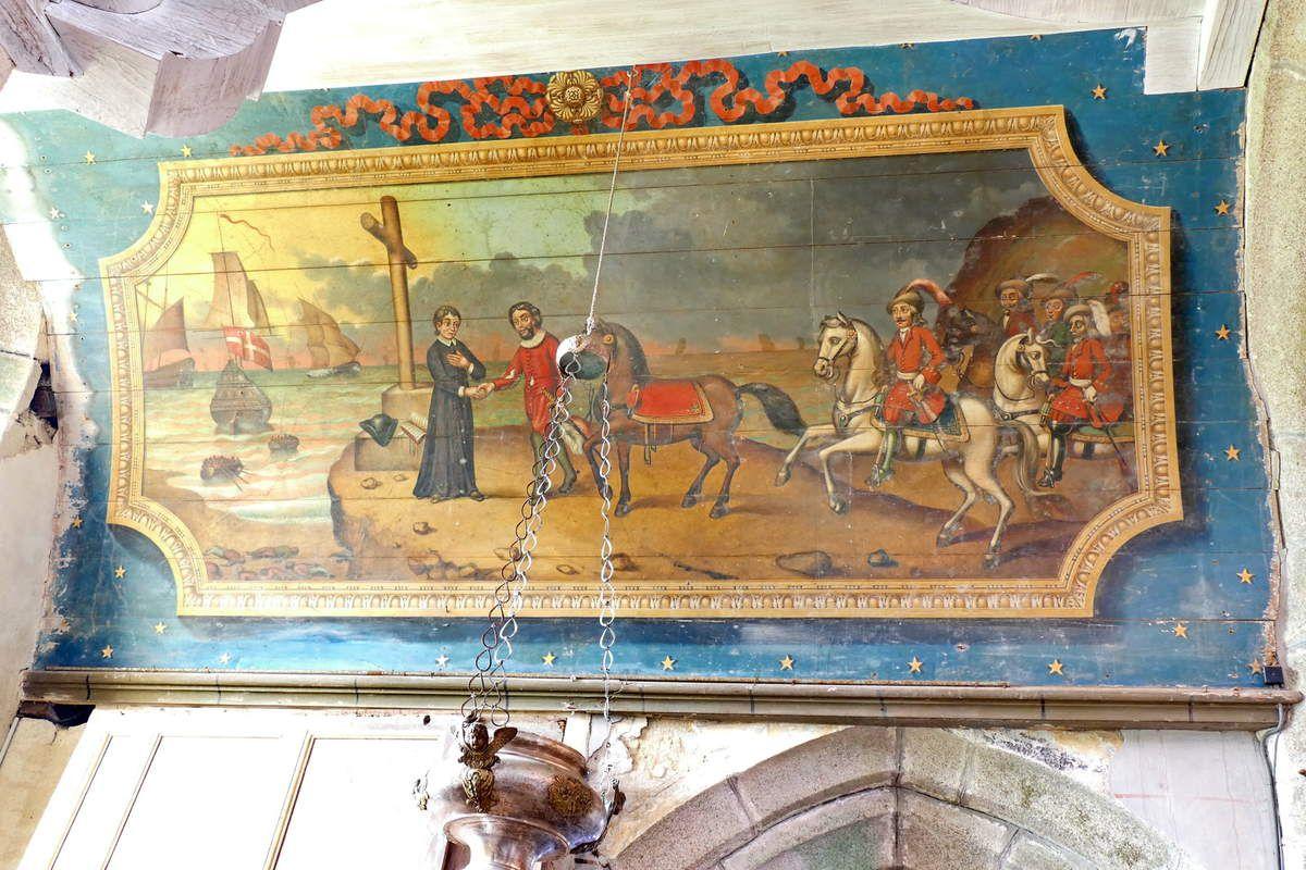 La rencontre de saint Goulven et du comte Even, peinture sur lambris (XVIIe siècle), église de Goulven. Photographie lavieb-aile 18 mai 2019.