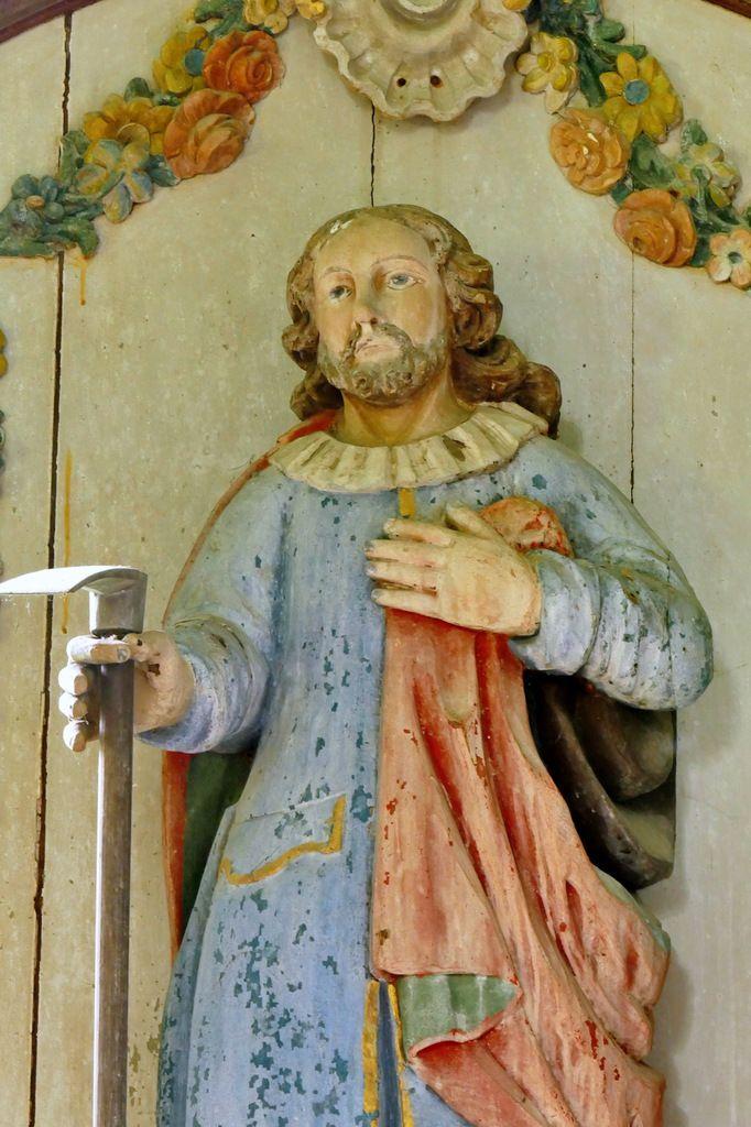 Retable de saint Isidore (bois polychrome, vers 1720, G. Le Poupon et J. Mozin, chapelle de Saint-Nicodème à Ploéven. Photographie lavieb-aile 13 juin 2019.