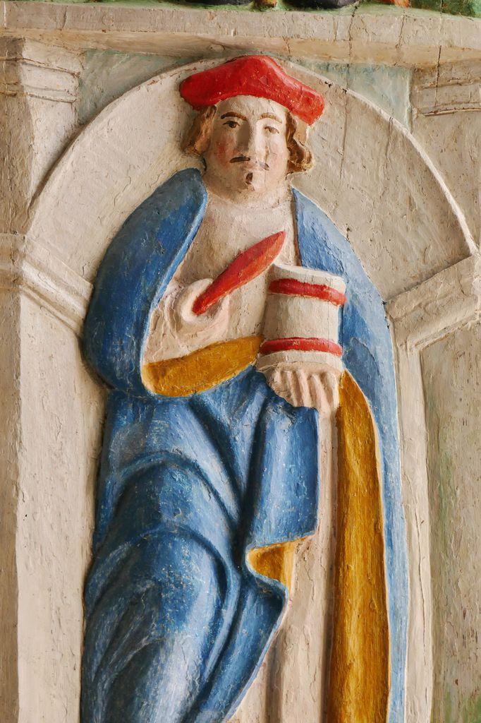 Saint Damien, Volet gauche, Niche de Saint Joseph à l'Enfant, chapelle nord, chapelle Saint-Sébastien, Saint-Ségal. Photographie lavieb-aile 21 juin 2019.