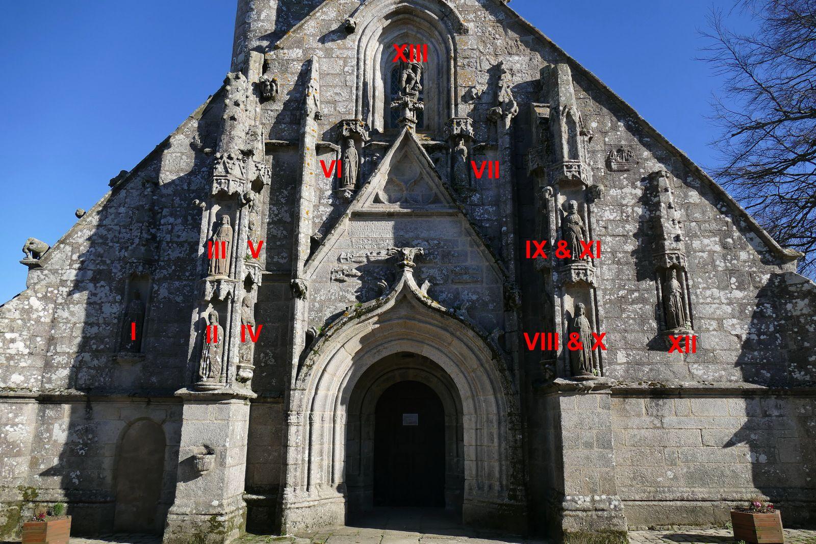Credo des Apôtres de la façade ouest de Confort-Meilars. Photographie lavieb-aile.