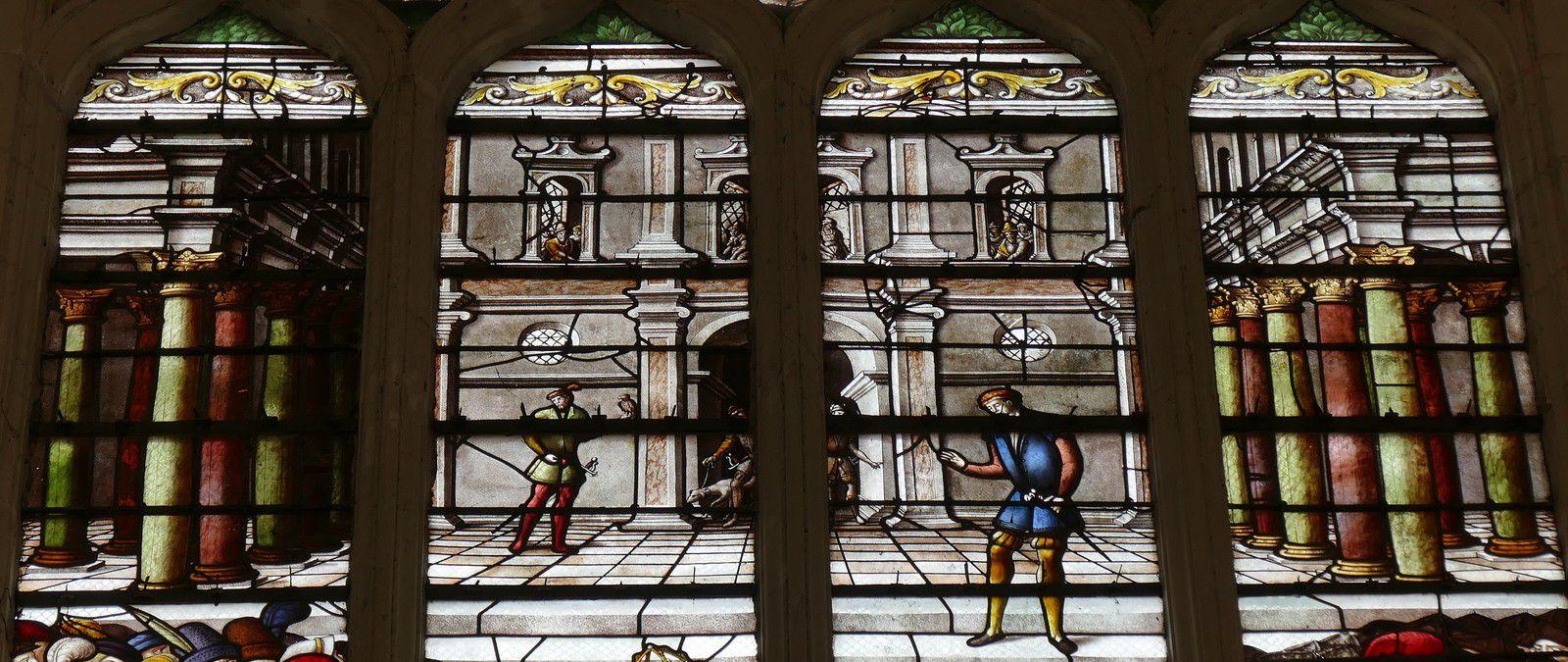 Vie et mort de saint Louis, registre médian des vitraux de la sainte-chapelle de Champigny-sur-Veude. Photographie lavieb-aile 2019.