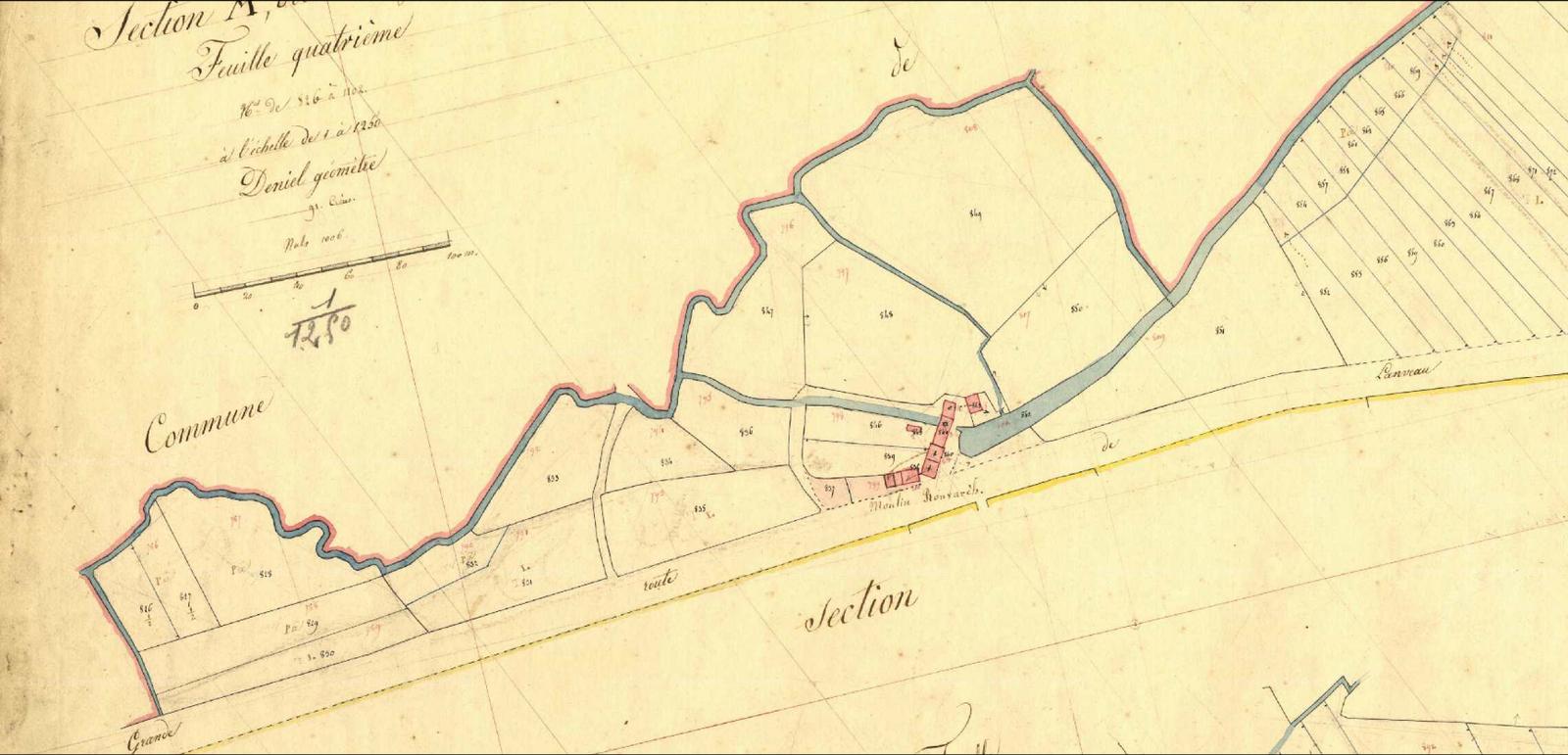 Le moulin de Ronvarc'h. Plan cadastral de 1831 (archives départementales).
