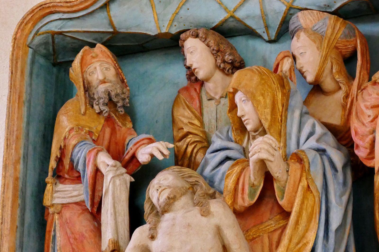 Déploration (bois polychrome, 2ème quart du  siècle) de la chapelle de Quilinen en Landrévarzec. Photographie lavieb-aile juin 2020.