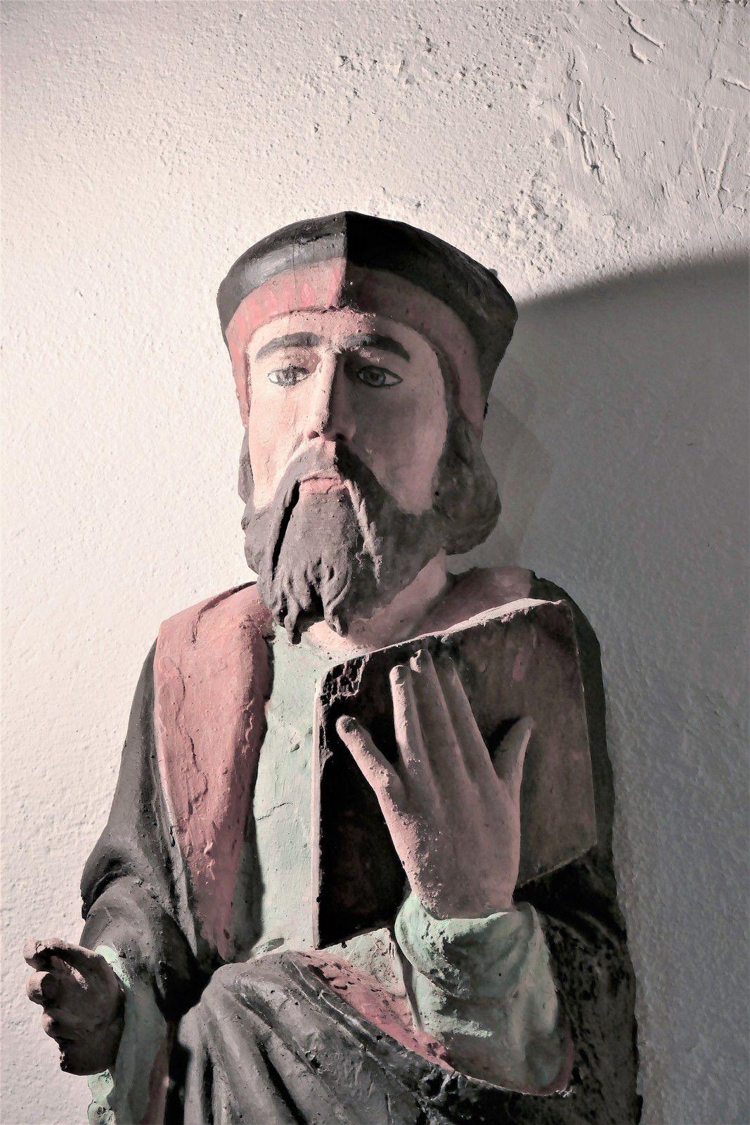 Statue de saint Marc provenant de la chapelle de Lanjulitte, exposée dans l' église de Telgruc. Photographie lavieb-aile juillet 2020.