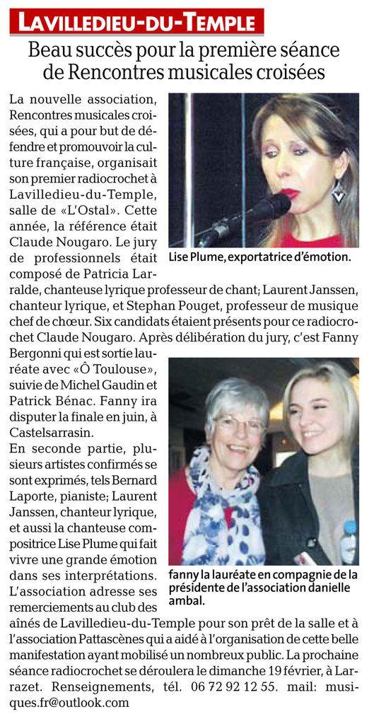 """Radio Crochet Inter"" Nougaro , La Ville Dieu du Temple (82):"