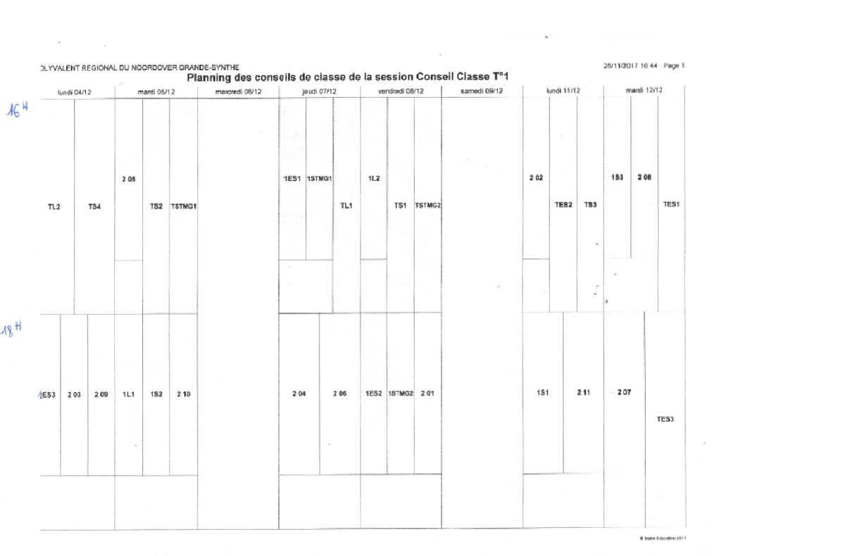 DATES ET HORAIRES DES CONSEILS DE CLASSE