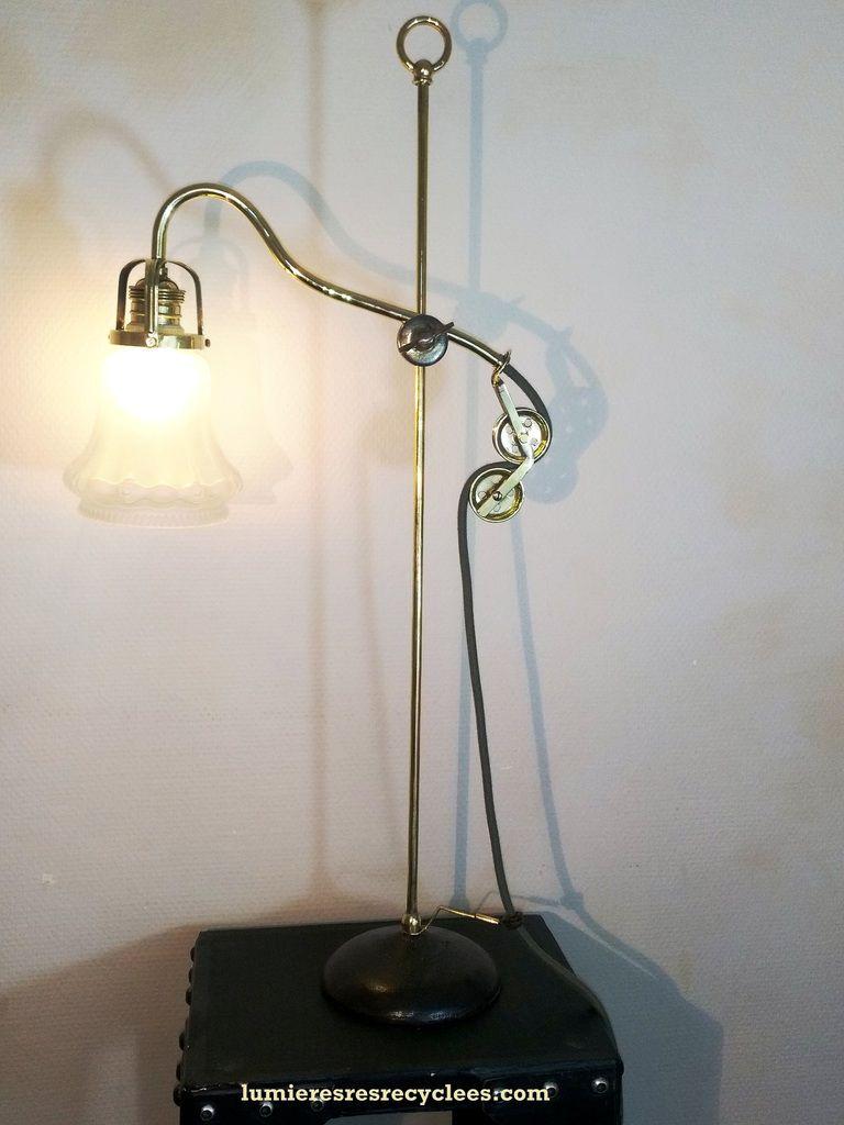 """"""" Tulipe à poulies """" - lampe néo-rétro à esprit steampunk - VENDUE !!"""