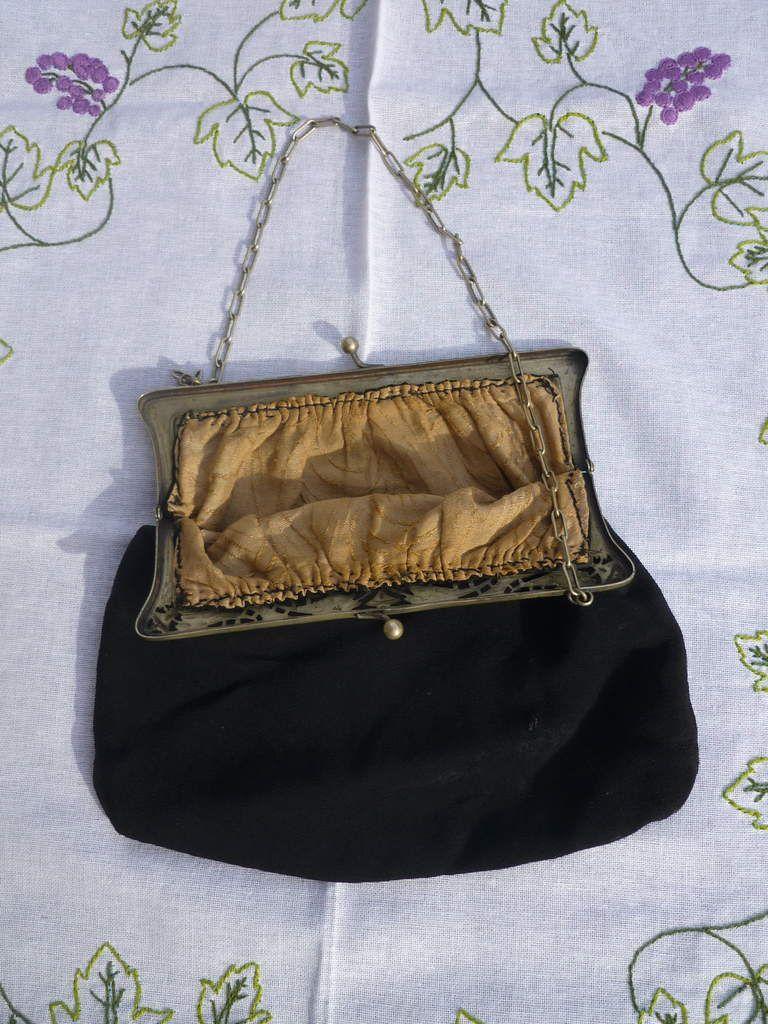 sac 1900 Art nouveau en mousseline de soie