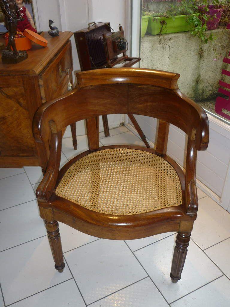 fauteuil de bureau canné Louis Philippe