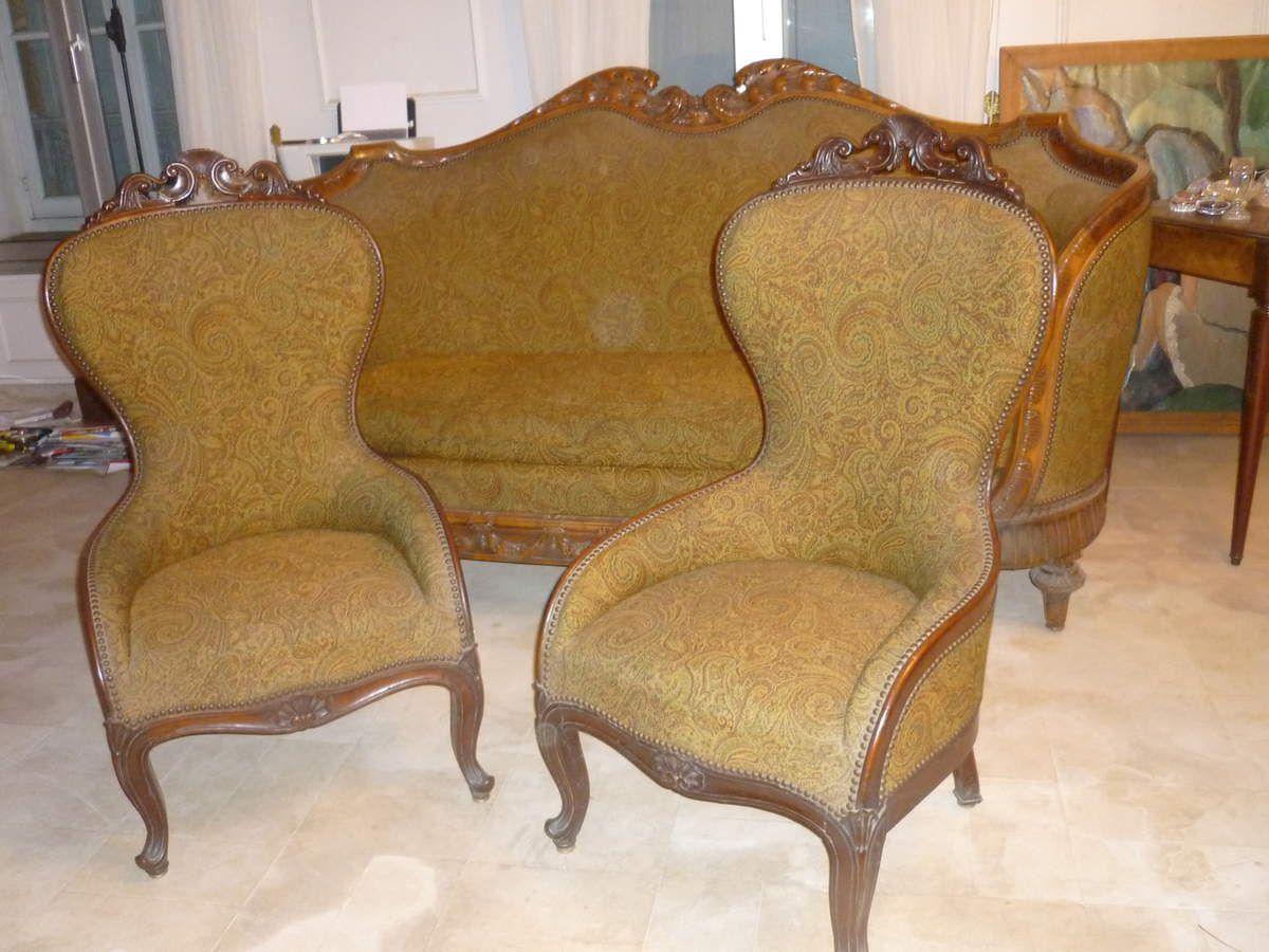 Salon XIX Napoléon III canapé corbeille et fauteuils à Vendre