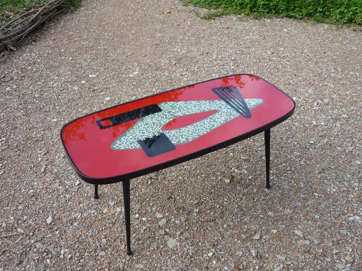 table basse retro 50 vintage rouge
