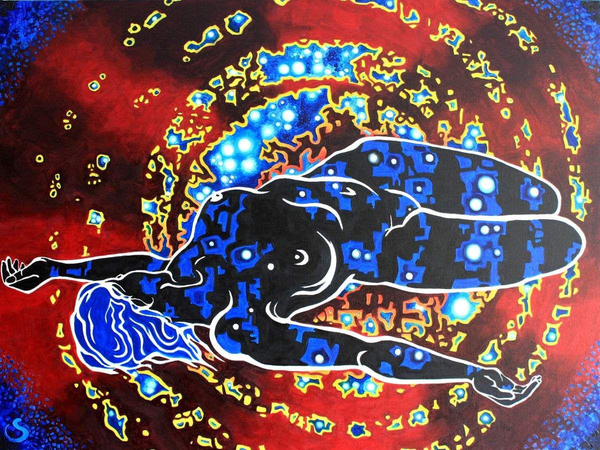 Mise en couleur et grand format de quelques croquis de Nu, peinture à l'huile sur toile.