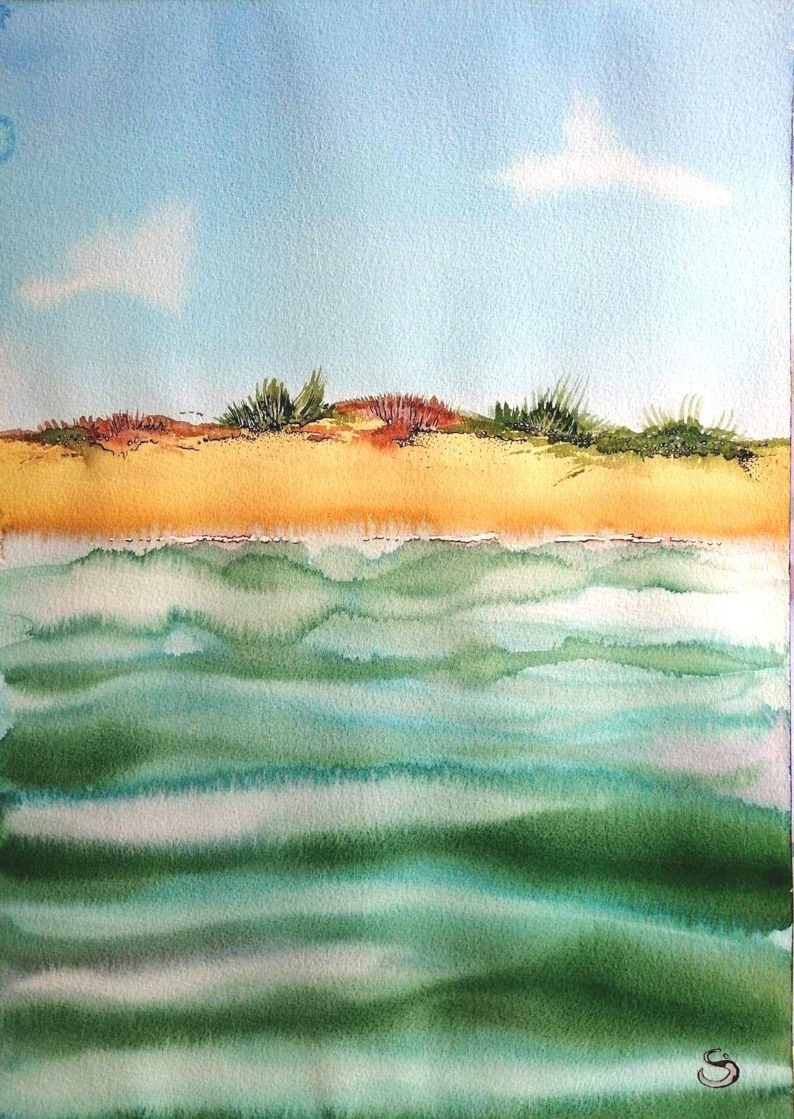 Vias, variation n°2, aquarelle et brou de noix, août 2020