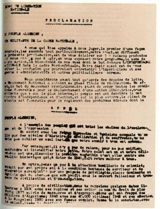 65e ANNIVERSAIRE DU 1er NOVEMBRE 1954