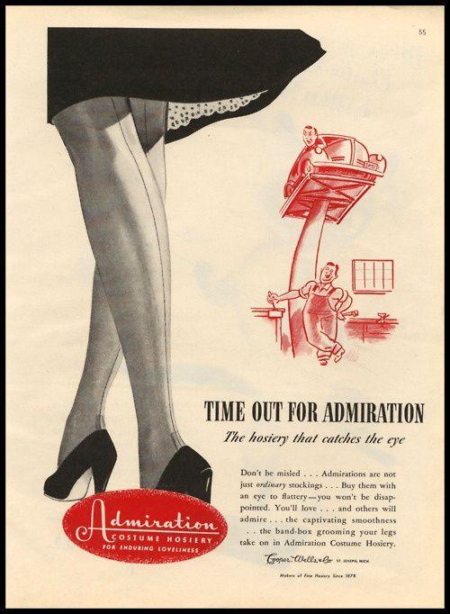 Publicité Bas Nylon ADMIRATION       ( marque US 50's )