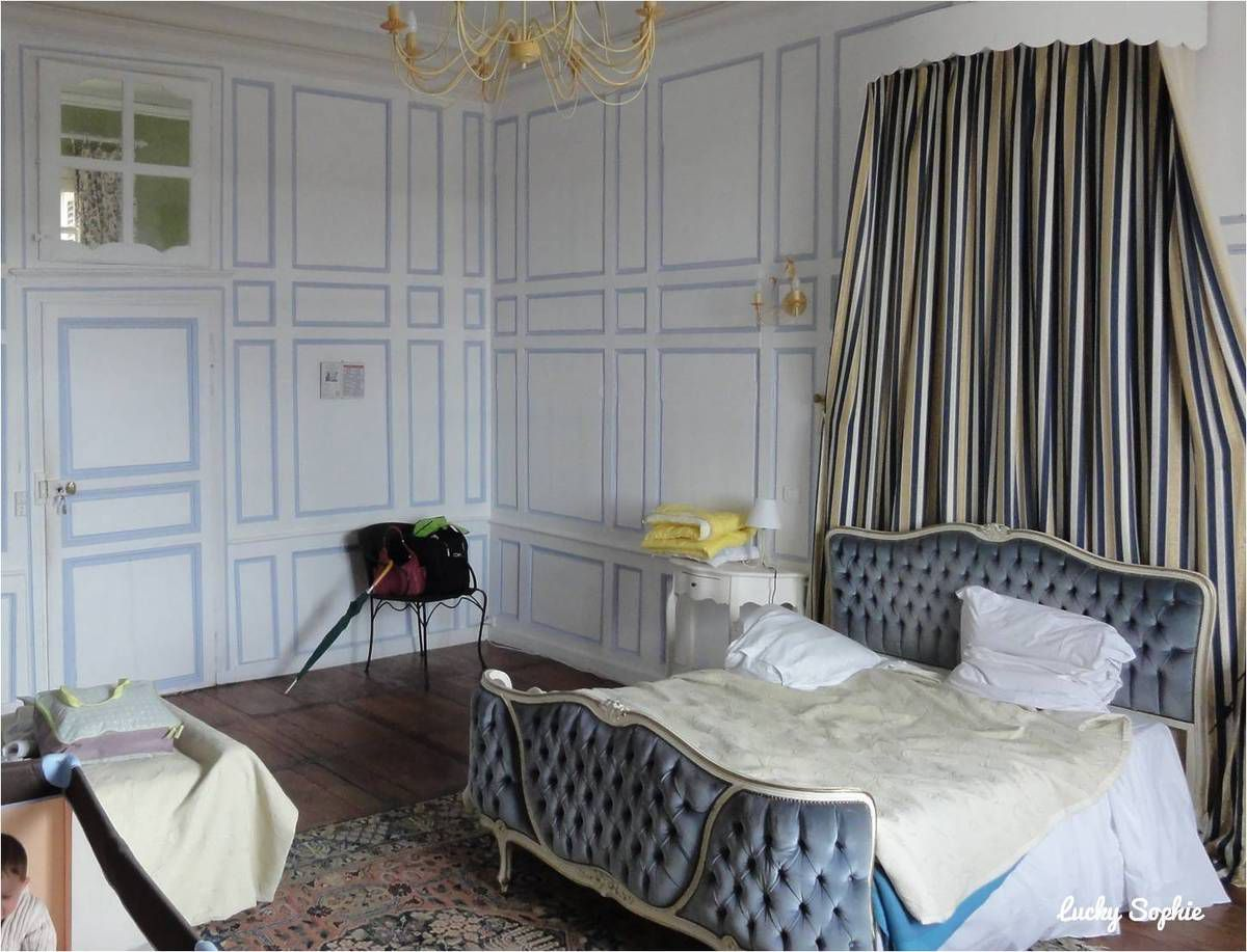 Un bébé dans un lit parapluie joue dans cette chambre de château !