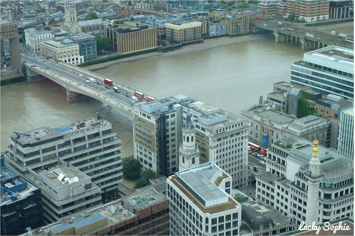A droite, la tour de The Monument, qui est un autre point de vue en hauteur sur Londres.