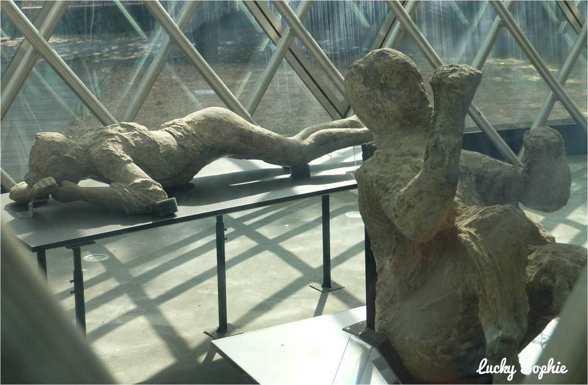 Les moulages des cadavres ensevelis, dans des postures très émouvantes.