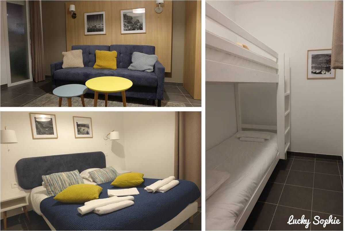 Un appartement spacieux parfait pour notre famille nombreuse : une chambre avec un grand lit, une chambre avec 2 lits superposés et un canapé-lit hyper confortable.