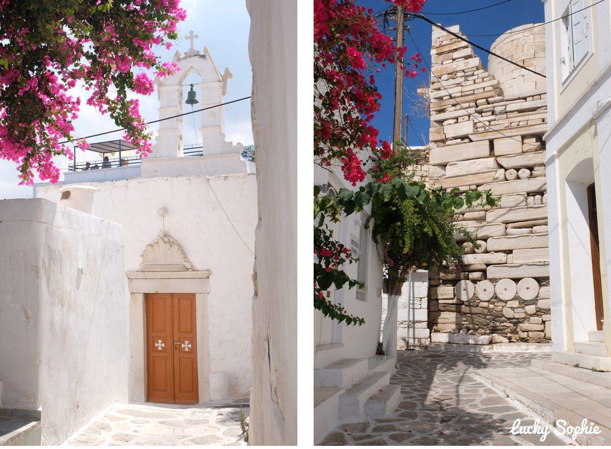 Le mur de la forteresse de Parikia a été bâti avec des colonnes d'anciens édifices !