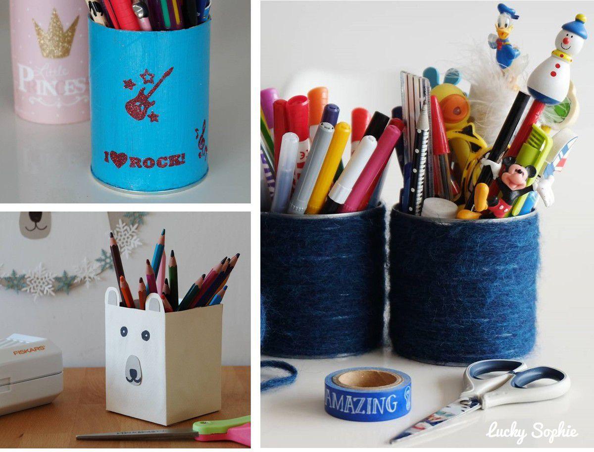 Des pots à crayons tous fabriqués à partir d'emballages alimentaires destinés au recyclage : boîte de Pringles, brique Tetra pak et boîte de conserve.